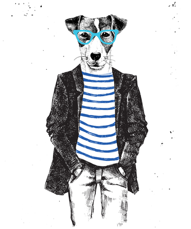 Ilustración de Hand drawn dressed up hipster dog. Vector illustration in hipster style - Imagen libre de derechos