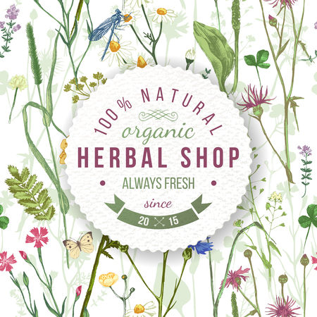 Illustration pour Herbal shop round emblem over wild herbs and flowers pattern. Easy to use in your organic and eco friendly designs - image libre de droit