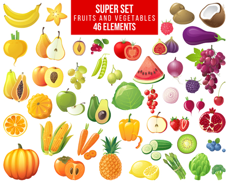 Foto per fruits, vegetables and berries super set - 46 elements - Immagine Royalty Free