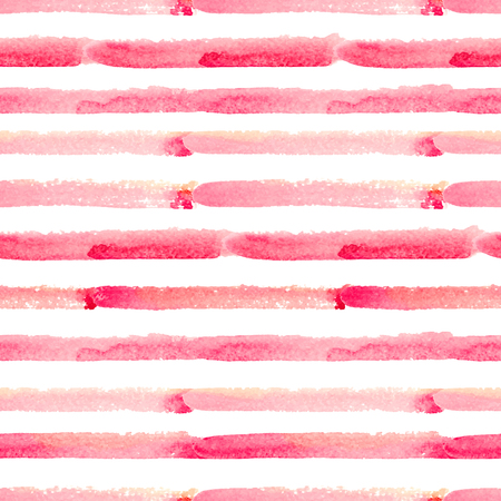 Illustration for Hand drawn watercolor seamless pattern with pink stripes - Royalty Free Image