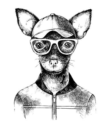 Illustration pour Hand drawn toy terrier hipster - image libre de droit