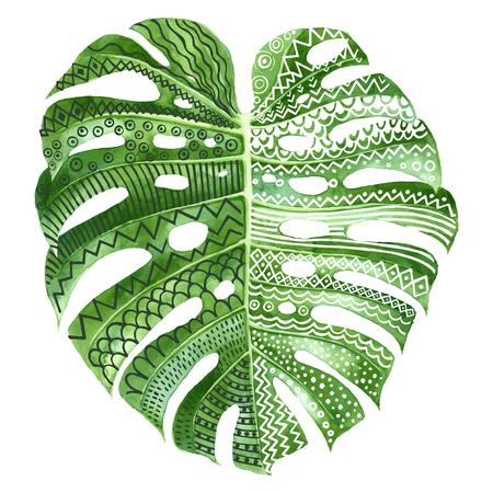 Ilustración de Monstera plant leaf with ethnic ornaments - Imagen libre de derechos