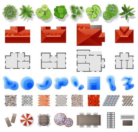 Ilustración de Set of landscape design elements. Top view. 39 high quality elements. Vector illustration - Imagen libre de derechos