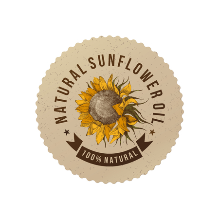 Illustration pour Sunflower oil emblem - image libre de droit