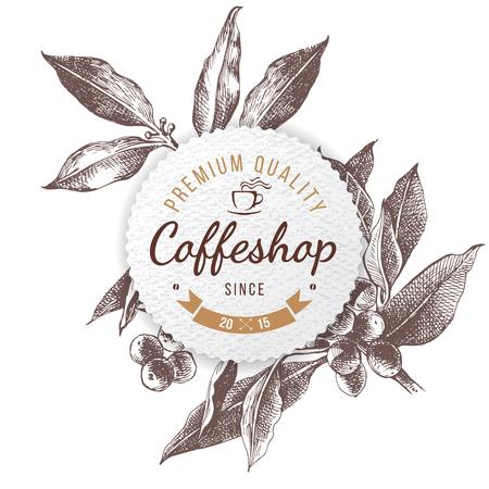 Ilustración de Coffee shop paper emblem Vector illustration. - Imagen libre de derechos
