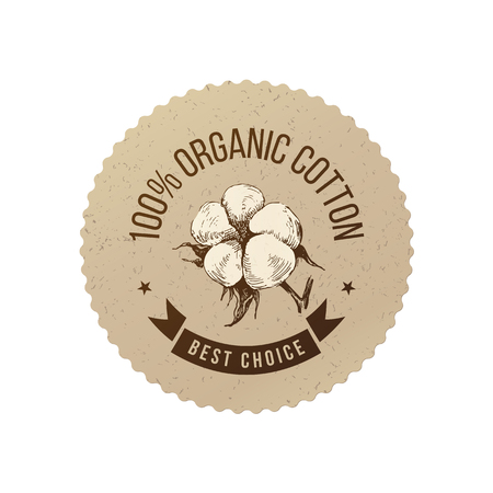 Illustration pour Organic cotton emblem - image libre de droit