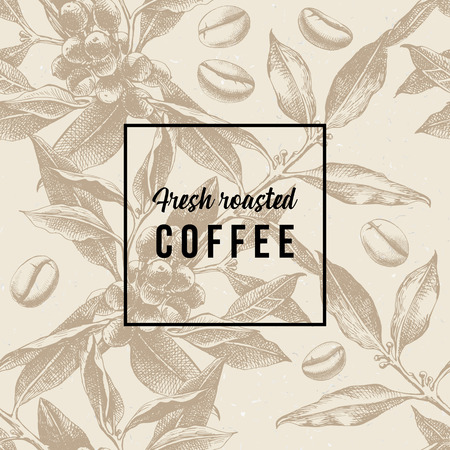 Ilustración de Seamles pattern with coffee plant, beans and type design - Fresh roasted coffee. Vector illustration - Imagen libre de derechos