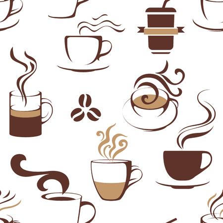 Ilustración de Seamless pattern with coffee cups. Vector illustration - Imagen libre de derechos