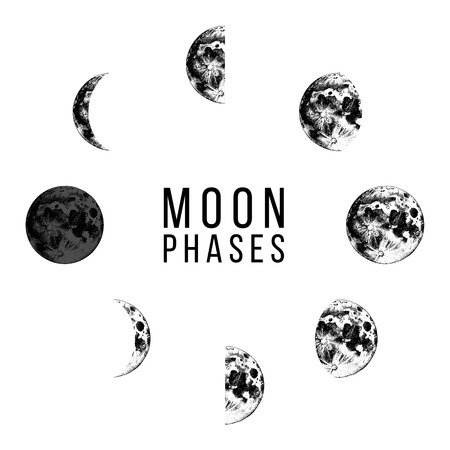 Ilustración de Moon phases icons - whole cycle from new moon to full moon. Hand drawn illustration in retro style - Imagen libre de derechos