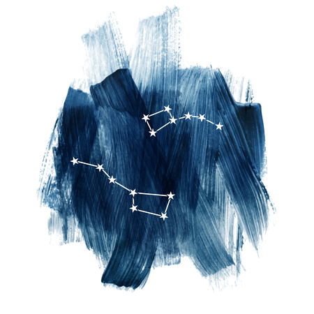 Illustration pour Round composition with Big Dipper and Little Dipper constellations over dark blue sky. Vector illustration - image libre de droit