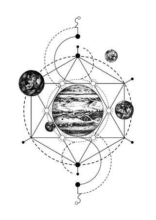 Illustration pour Sacred geometry background with Jupiter - image libre de droit