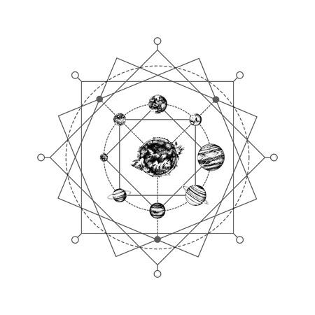 Ilustración de Solar system sacred geometry - Imagen libre de derechos