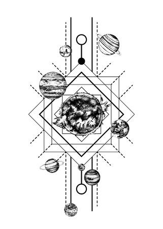Illustration pour Solar system sacred geometry - image libre de droit