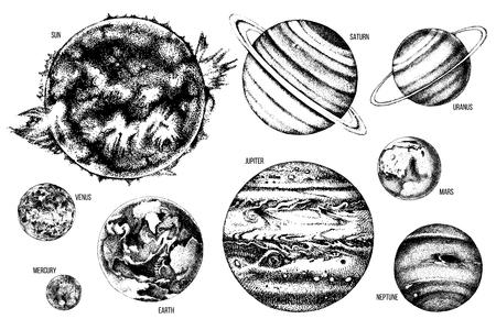 Ilustración de Hand drawn solar system illustration: Sun, Mercury, Venus, Earth, Mars, Jupiter, Saturn, Uranus, Neptune. - Imagen libre de derechos