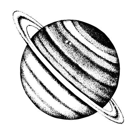 Ilustración de Hand drawn Saturn planet - Imagen libre de derechos