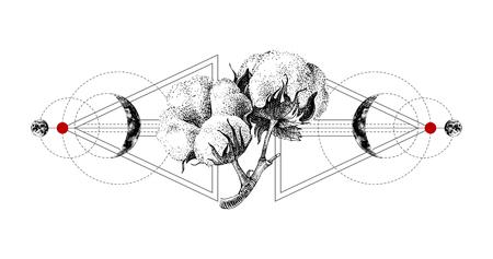 Illustration pour Geometry tattoo with hand drawn cotton - image libre de droit