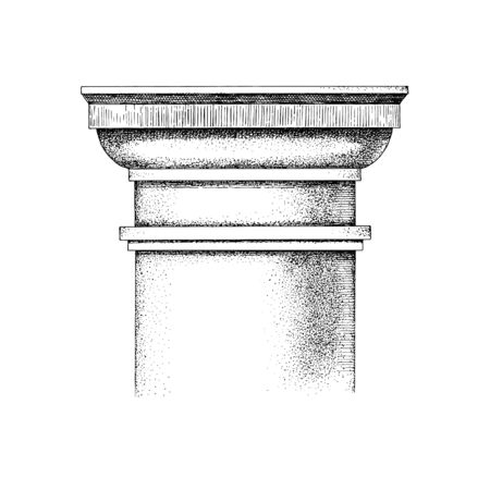Illustration for Hand drawn Capital of the Tuscan order. Classical architectural support. Vector illustration - Royalty Free Image