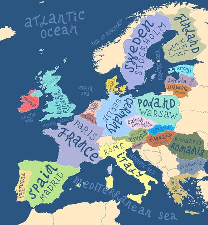 Illustration pour Map of Europe with hand drawn lettering - image libre de droit