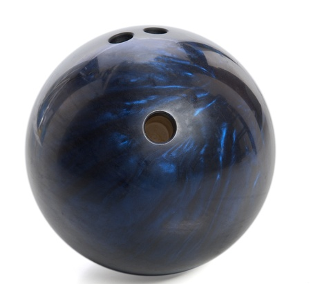blue marbled bowling ball isolated on white