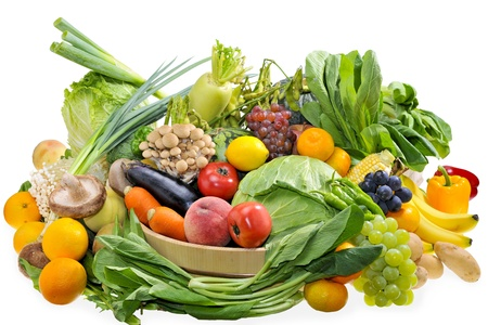 Assortment of the vegetables and fruits