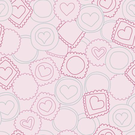 Ilustración de Vector light pink sweet love cookies seamless pattern background. Perfect for fabric, kitchen, print, wallpaper, giftwrap, bedding, bags, clothes, scrapbooking art and packaging design projects - Imagen libre de derechos