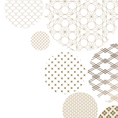 Illustration for Japanese pattern background vector. Oriental gold geometric texture for cover design , poster, card, template. - Royalty Free Image
