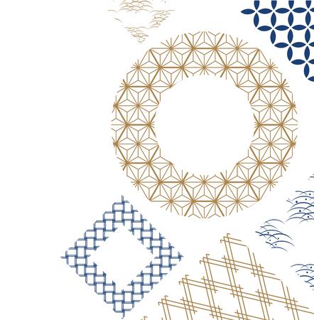 Ilustración de Gold and blue Japanese pattern vector for poster - Imagen libre de derechos