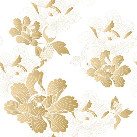 Illustration pour Gold floral pattern vector. Chinese flower background. - image libre de droit
