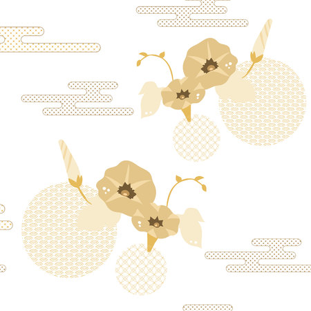 Illustration pour Floral pattern vector. Gold Japanese background. Morning glory flower, wave and cloud elements. - image libre de droit