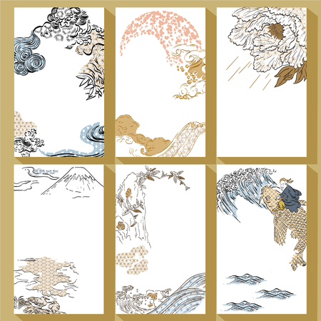 Photo pour Japanese traditional template vector. Hand drawn brush stroke background. Lion, Fuji mountain, peony, wave, water, carp fish elements. - image libre de droit