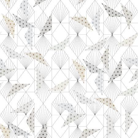 Ilustración de Japanese pattern vector. Geometric background. Asian line ornamental template. - Imagen libre de derechos