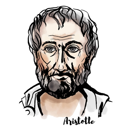 Illustration for Aristotle watercolor vector portrait with ink contours. Ancient Greek philosopher and scientist. - Royalty Free Image