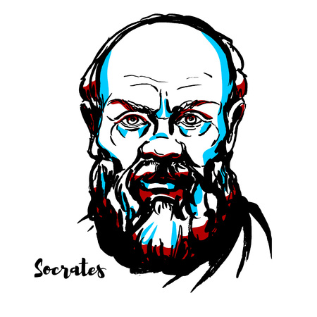 Illustrazione per Socrates engraved vector portrait with ink contours. Classical Greek (Athenian) philosopher credited as one of the founders of Western philosophy, and as being the first moral philosopher,of the Western ethical tradition of thought. - Immagini Royalty Free