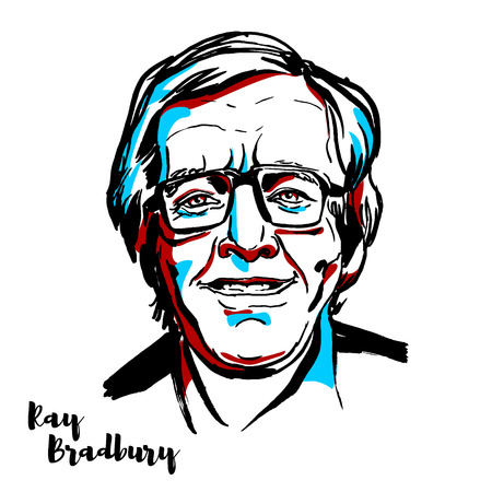 Ilustración de MOSCOW, RUSSIA - AUGUST 21, 2018: Ray Bradbury engraved vector portrait with ink contours. American author and screenwriter. - Imagen libre de derechos