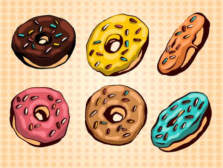 Illustration for Hand drawn vector donuts set. Glazed and colored donuts in several foreshortening. - Royalty Free Image
