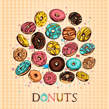 Illustration for Hand drawn vector donuts set. Glazed and colored donuts in several foreshortening with lettering. - Royalty Free Image