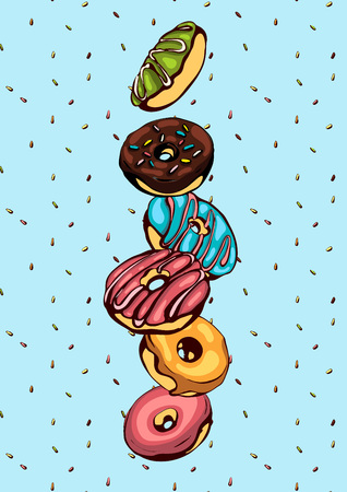 Illustration for Hand drawn vector donuts poster with sprinkless on blue background. Glazed and colored donuts in several foreshortening. - Royalty Free Image