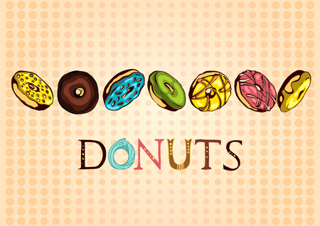 Illustration for Hand drawn vector donuts poster with dotted background. Glazed and colored donuts in several foreshortening with lettering. - Royalty Free Image