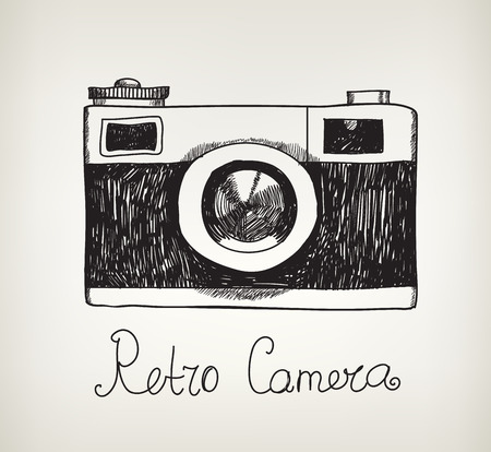 Illustration pour vector retro hand drawn hipster photo camera isolated - image libre de droit