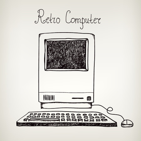 Illustration for vector hand drawn doodle retro computer isolated - Royalty Free Image