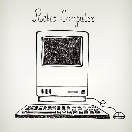 Illustration pour vector hand drawn doodle retro computer isolated - image libre de droit