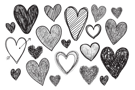 vector set of hand drawn doodle hearts isolated