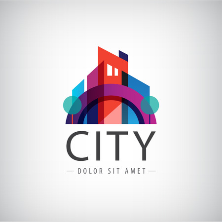 Foto de vector abstract colorful city, building composition sign, icon - Imagen libre de derechos
