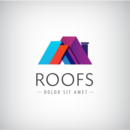 Illustration pour vector roofs, house icon, colorful company logo isolated - image libre de droit