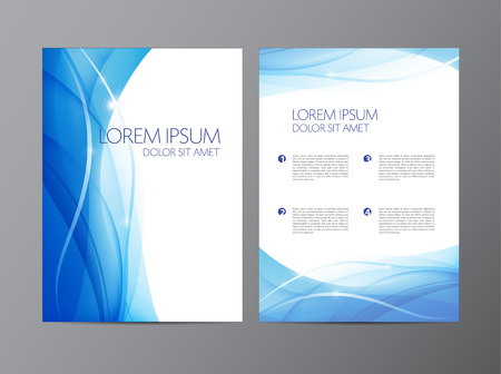 Ilustración de vector abstract modern wavy flowing blue flyer, brochure, cover design - Imagen libre de derechos