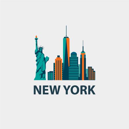 Illustration for New York city architecture retro vector illustration, skyline silhouette, skyscraper, flat design - Royalty Free Image