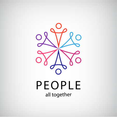 Illustration pour vector teamwork, social net, people together icon, company outline logo isolated - image libre de droit