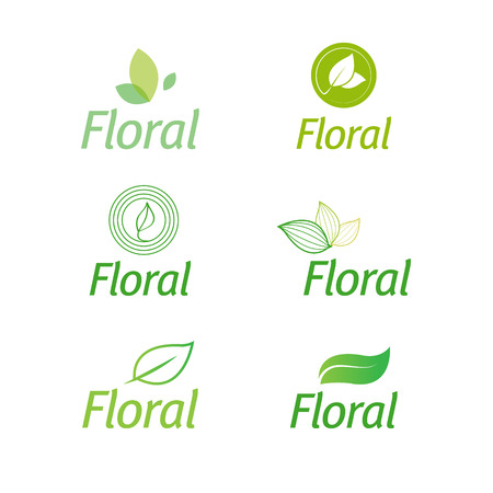 Illustration for floral set of leaf floral green eco icons isolated - Royalty Free Image