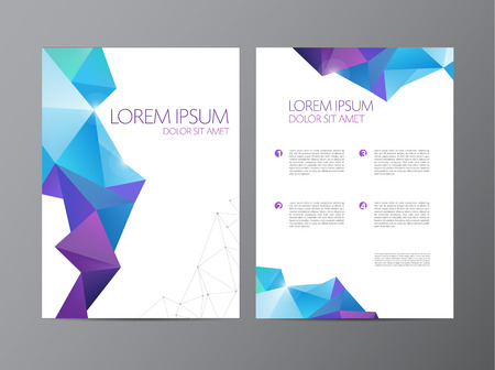 Ilustración de Abstract vector modern flyer brochure design templates with geometric triangular background - Imagen libre de derechos