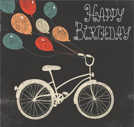 Illustration for vector retro hand drawn blackboard birthday card with bicycle and balloons - Royalty Free Image